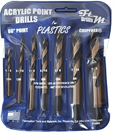 "1//4/"" Drill Bit for Plastic Acrylics, Plexiglas, Lexan, ABS, PVC, more"