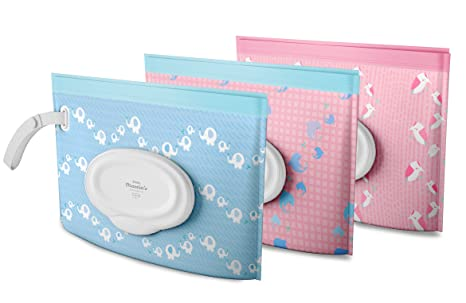 Little Martins - Juego de 3 bolsitas dispensadoras de toallitas húmedas, reutilizables, recargables,