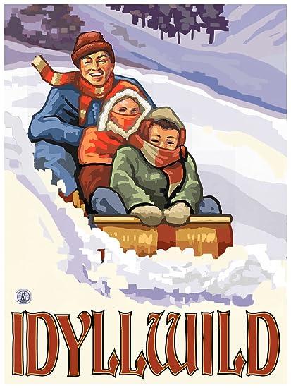 Amazon com: Idyllwild California Family Sledding Travel Art