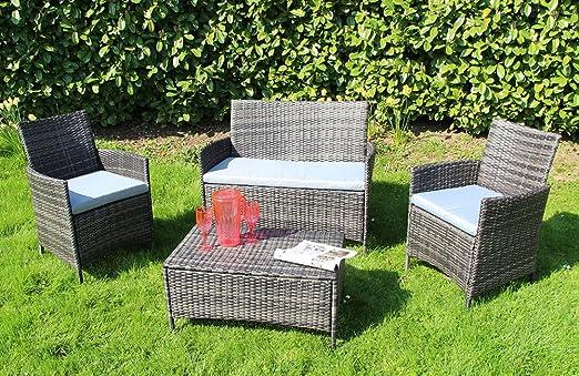 S&R Muebles de jardín de ratán, 4 Piezas, sofá esquinero, Mesa, sillas de jardín, jardín, Invernadero, Gris Oscuro: Amazon.es: Jardín