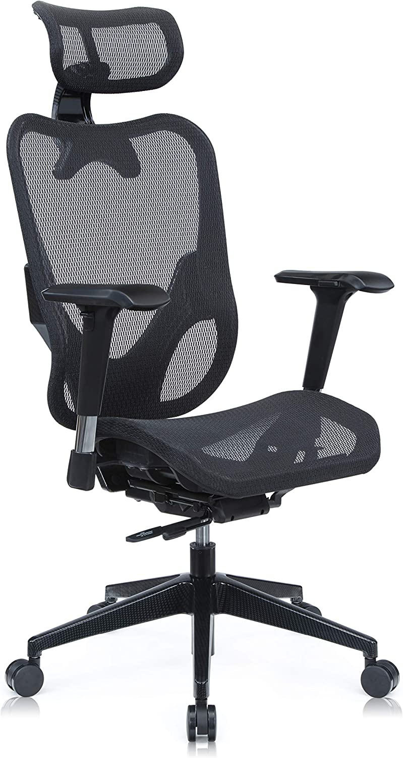 Mesh3 Ergonomic Office Chair Premium Mesh Seat with Back Support Gaming Chair Fully Adjustable Headrest, Backrest and 4D Armrests for Great Posture BIFMA Black Color HY-105BK