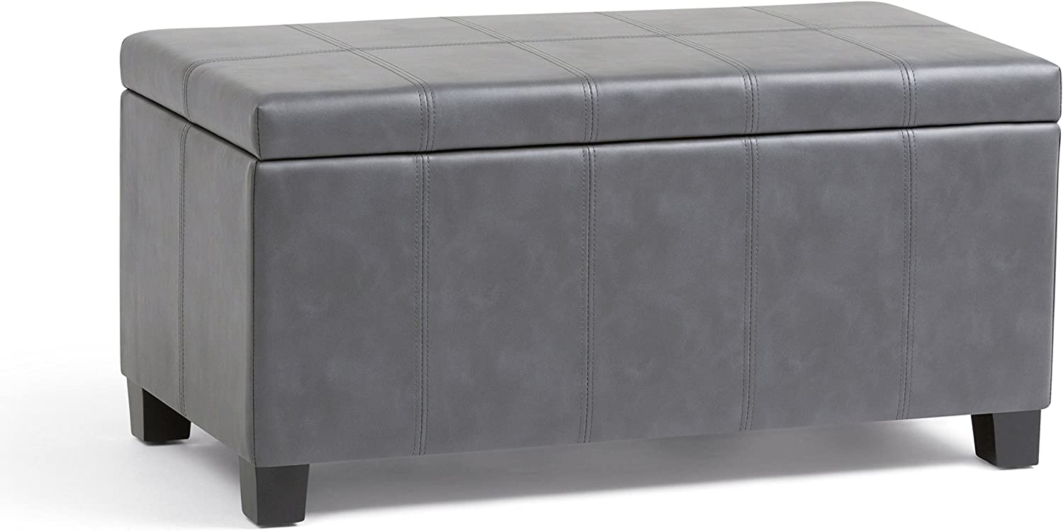 Simpli Home AXCOT-223-G Dover 36 inch Wide ContemporaryStorage Ottoman in Stone Grey Faux Leather
