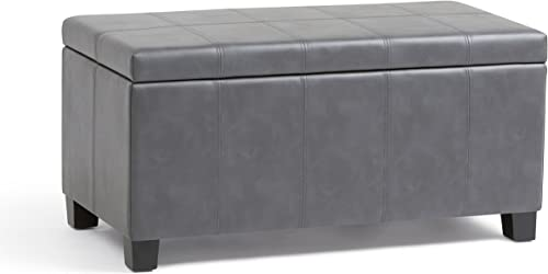SIMPLIHOME Dover 36 inch Wide Rectangle Lift Top Storage Ottoman Bench