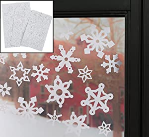 "Snowflake Window Clings (69 Pcs. Per Set) 1 1/2"" - 3"". Reusable Vinyl."