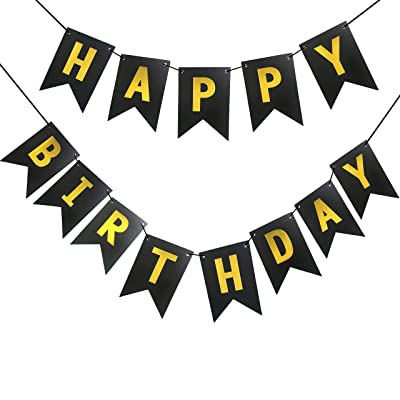 Featy Black Happy Birthday Banner with Shiny Gold Letters Banner for Birthday Party Baby Shower Party Decor: Toys & Games