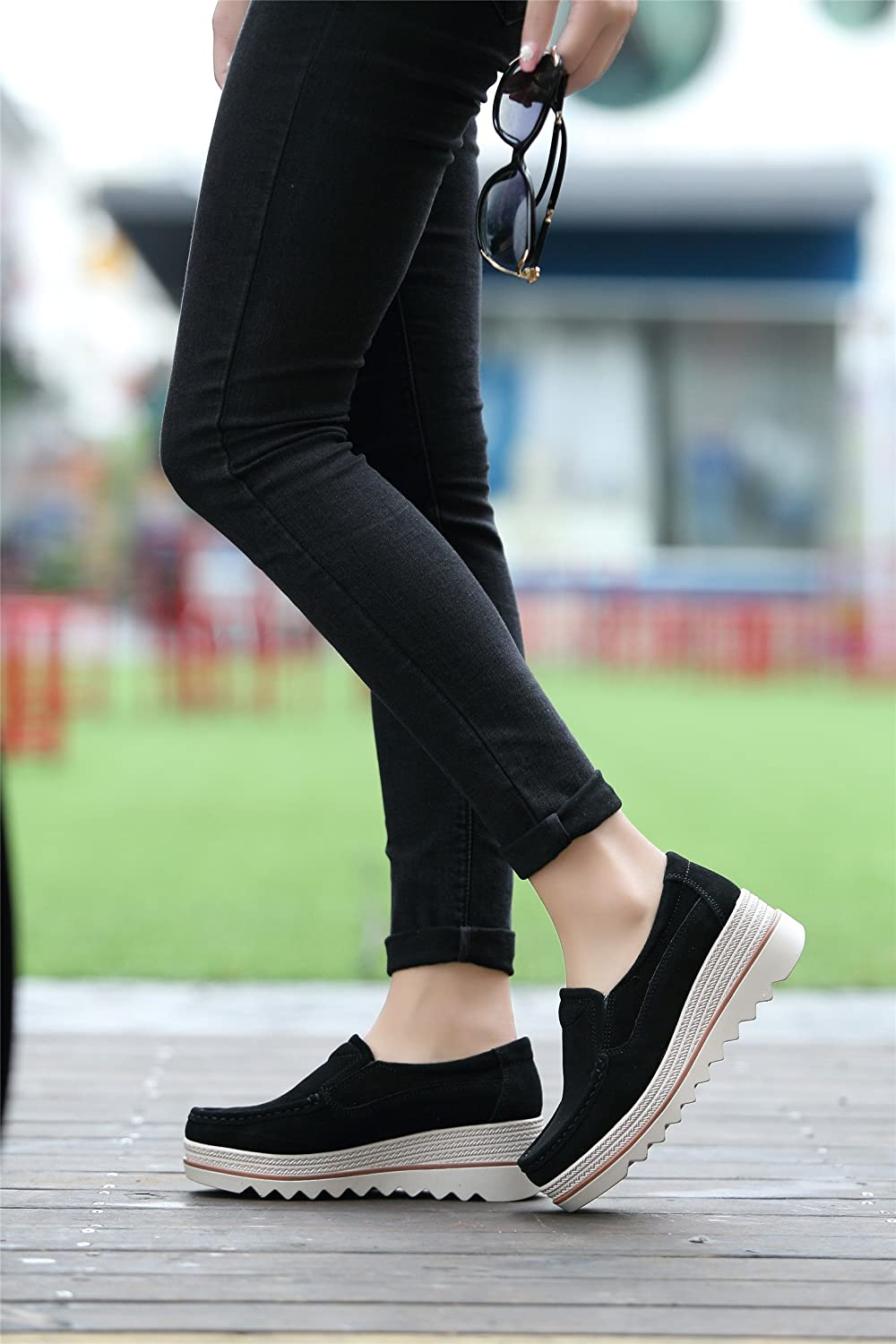 Ladies Loafers Women Platform Slip On Shoes Comfort Suede Moccasins Fashion Casual Wedge Sneakers Black Grey Khaki Blue 35-42