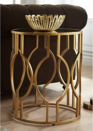 Fara 20″ Wide Gold and Mirrored Top Round End Table