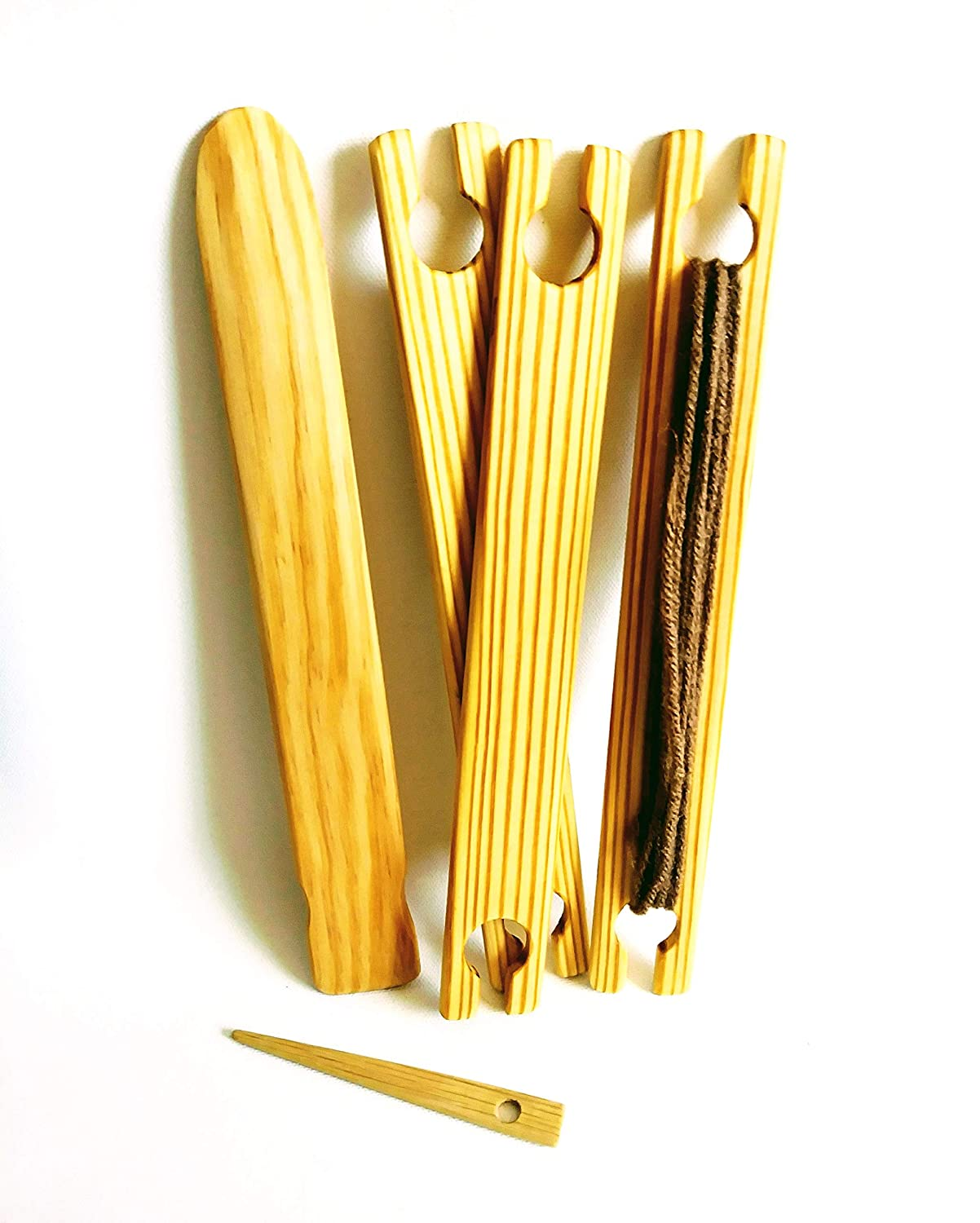 5 Piece 10 inch Weaving Shuttles, Free pick up and stick needle LoomsAndToolz CDR5PK-10