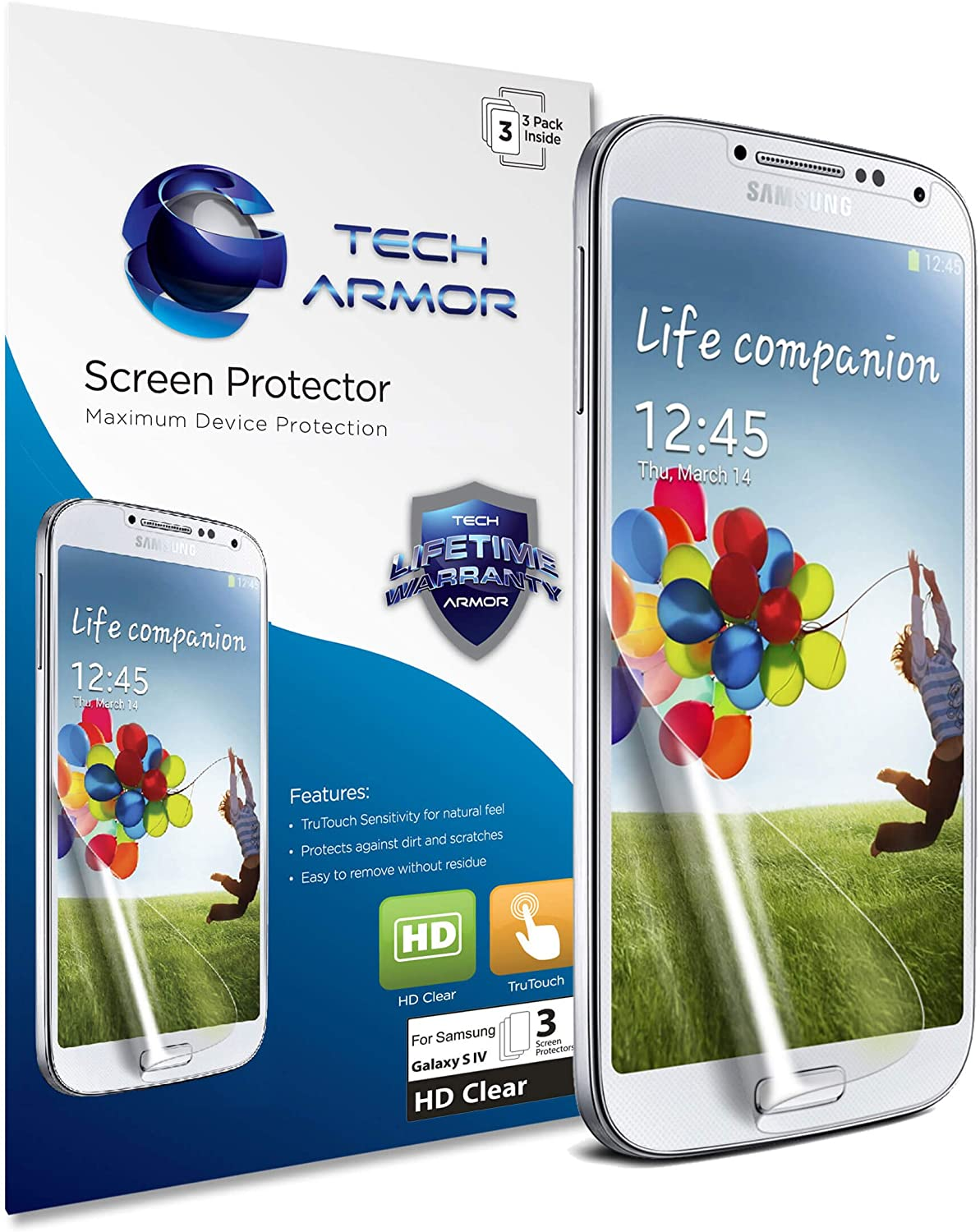 Tech Armor Premium High Definition Clear Screen Protectors with Lifetime Replacement Warranty for Samsung Galaxy S4 (Pack of 3)