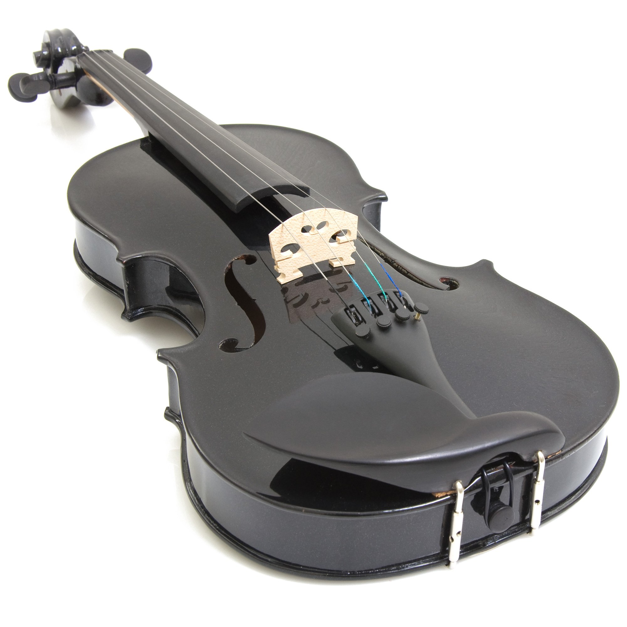 Mendini 4/4 MV-Black Solid Wood Violin with Tuner, Lesson Book, Shoulder Rest, Extra Strings, Bow and Case, Metallic Black Full Size by Mendini by Cecilio (Image #3)
