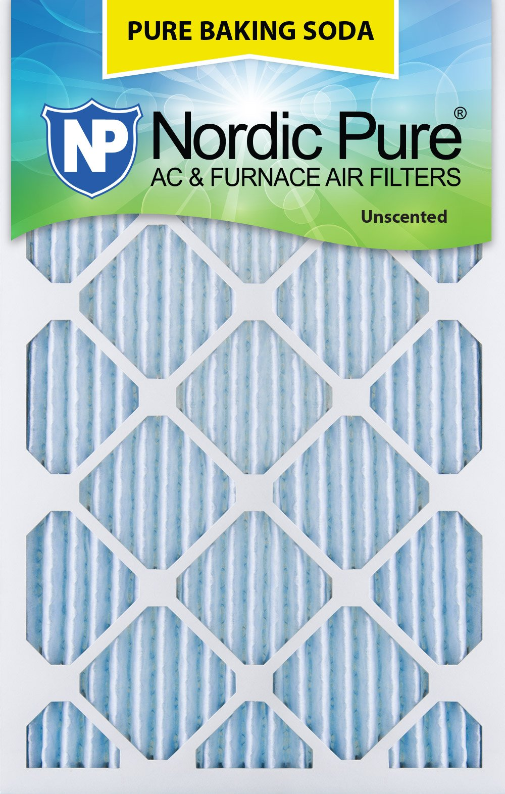 Nordic Pure 14x25x1 Pure Baking Soda Odor Deodorizing AC Furnace Air Filters, 3 Pack 14'' x 25'' x 1'' 3