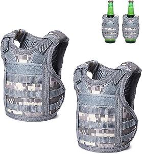Tactical Beer Vests Beverage Cooler Military Beverage Holder for 12oz or 16oz Cans or Bottles with Adjustable Shoulder Straps