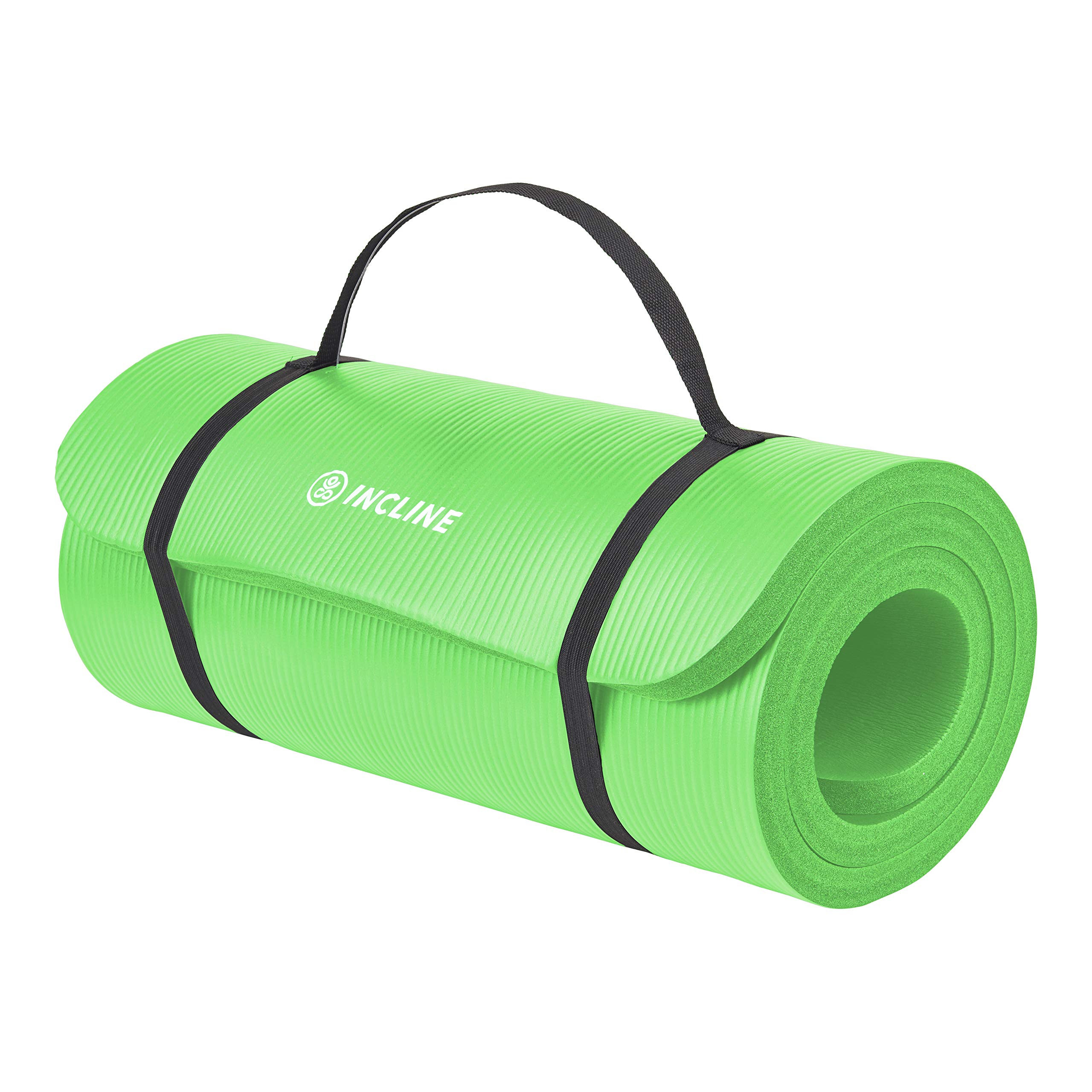 Incline Fit Exercise Mat Ananda 1'' Extra Thick Exercise Mat with Strap - Non Slip Workout Mat for Yoga, Pilates, Stretching, Meditation, Floor & Fitness Exercises