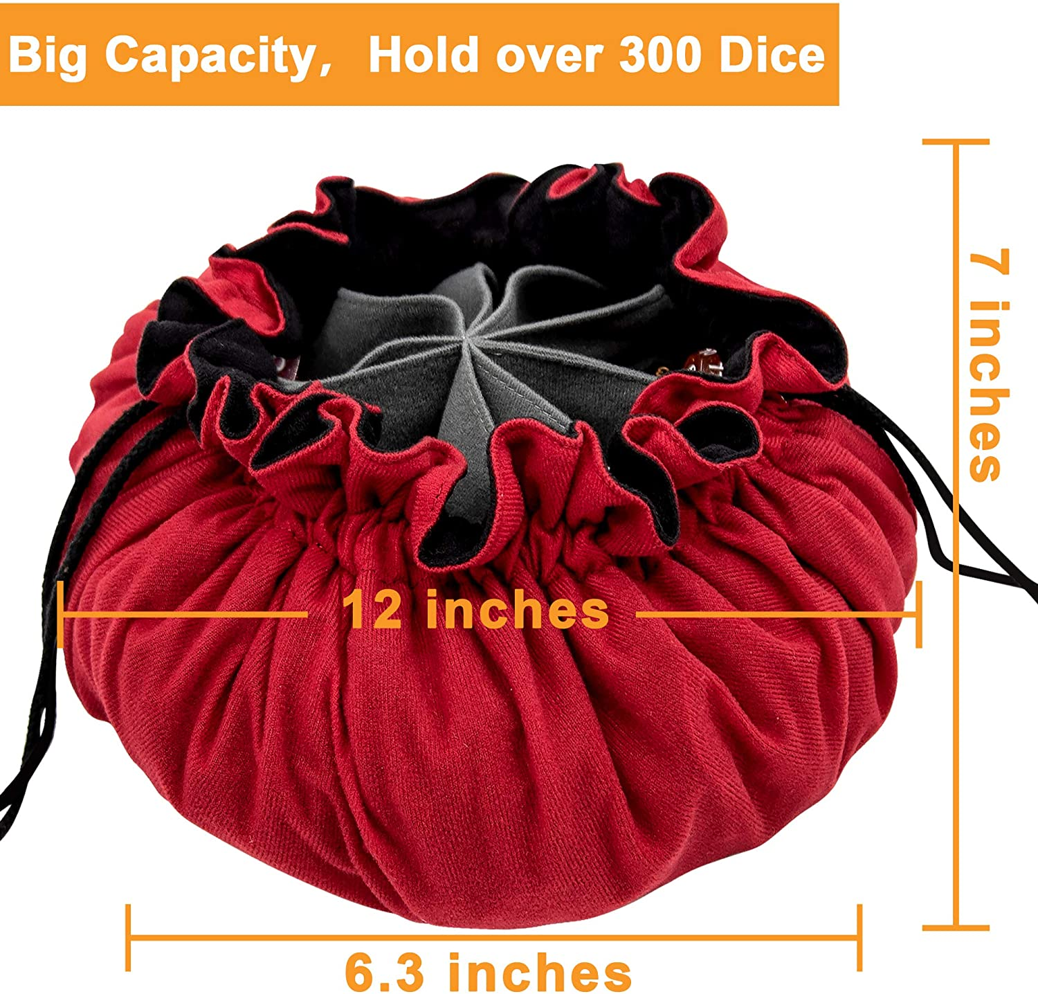Hold over 300 Dice Red SIQUK Dice Bag with Pockets Big Capacity Dice Storage Bag for DND RPG MTG Table Games