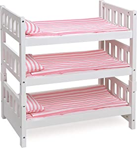 Badger Basket 1-2-3 Convertible Doll Bunk Bed (Fits American Girl Dolls), White/Pink Stripe