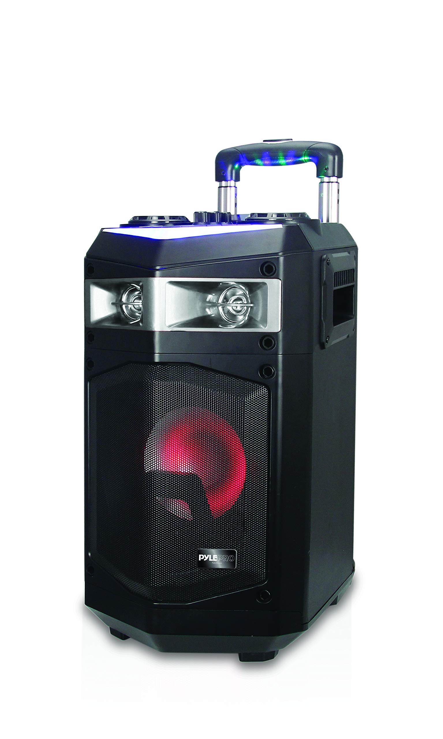 Portable PA Speaker Powered Rechargeable Outdoor Speaker Microphone Set with Mic Talkover MP3 USB SD FM Radio AUX, LED Dj Lights, Pyle PWMKRDJ84BT (System-500W BT Connectivity