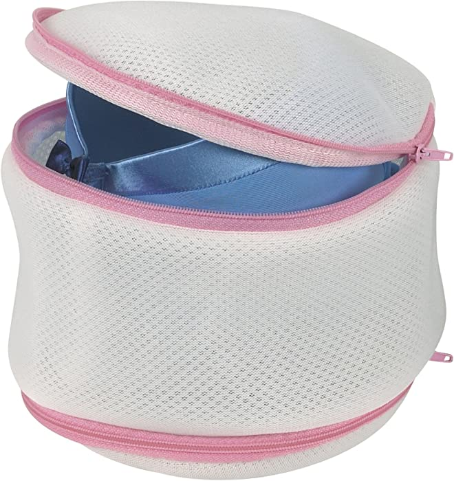 Household Essentials 124 Laundry Bra Wash Bag | 2 Sided Protection for Lingerie | White with Pink Trim
