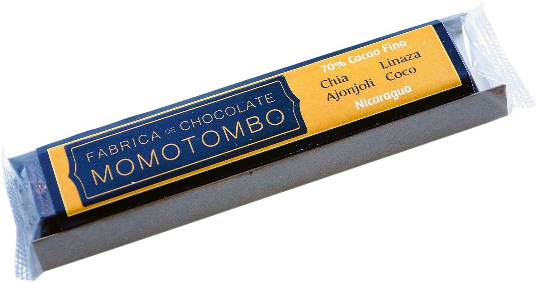 Momotombo-Chocolate Negro-Chia,Lino,Sésamo,Coco- Cacao Nicaragua 70%-50gr: Amazon.es: Alimentación y bebidas