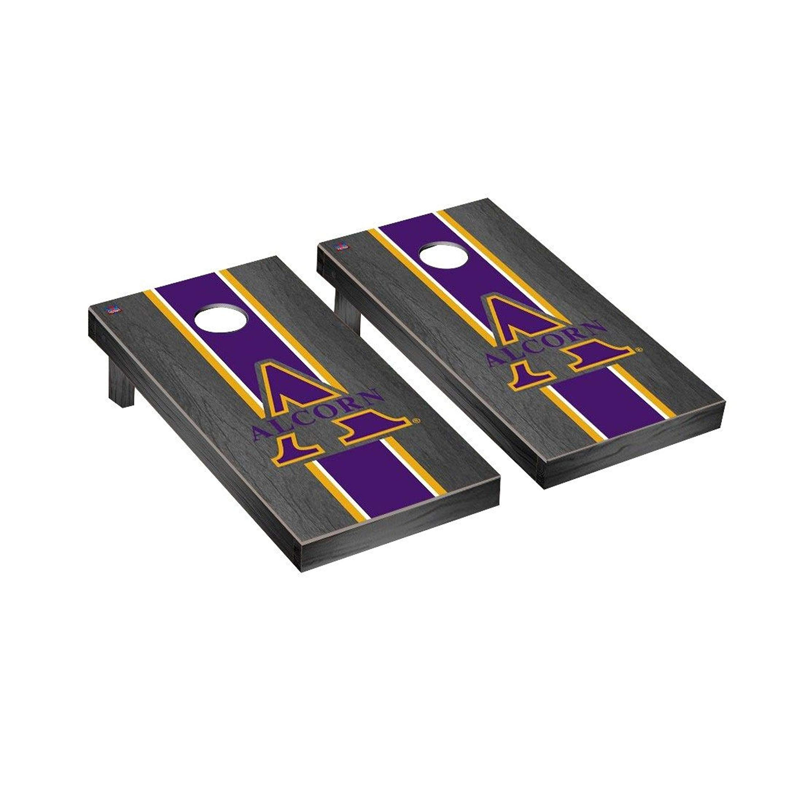 Victory Tailgate Regulation Collegiate NCAA Onyx Stained Stripe Series Cornhole Board Set - 2 Boards, 8 Bags - Alcorn State Braves