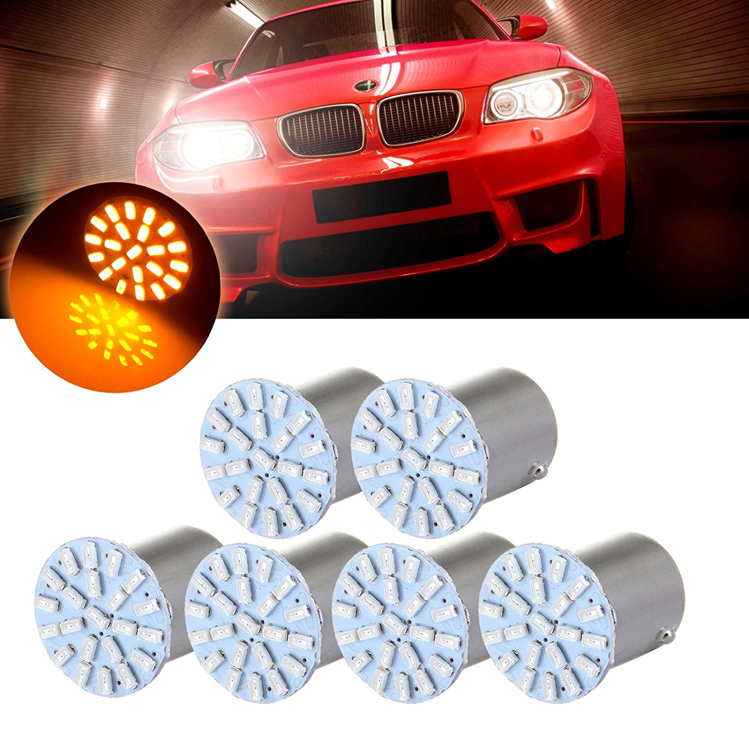cciyu 6pcs Red 22SMD LED Exterior Light Bulbs Replacement fit for Corner, Stop,Parking light