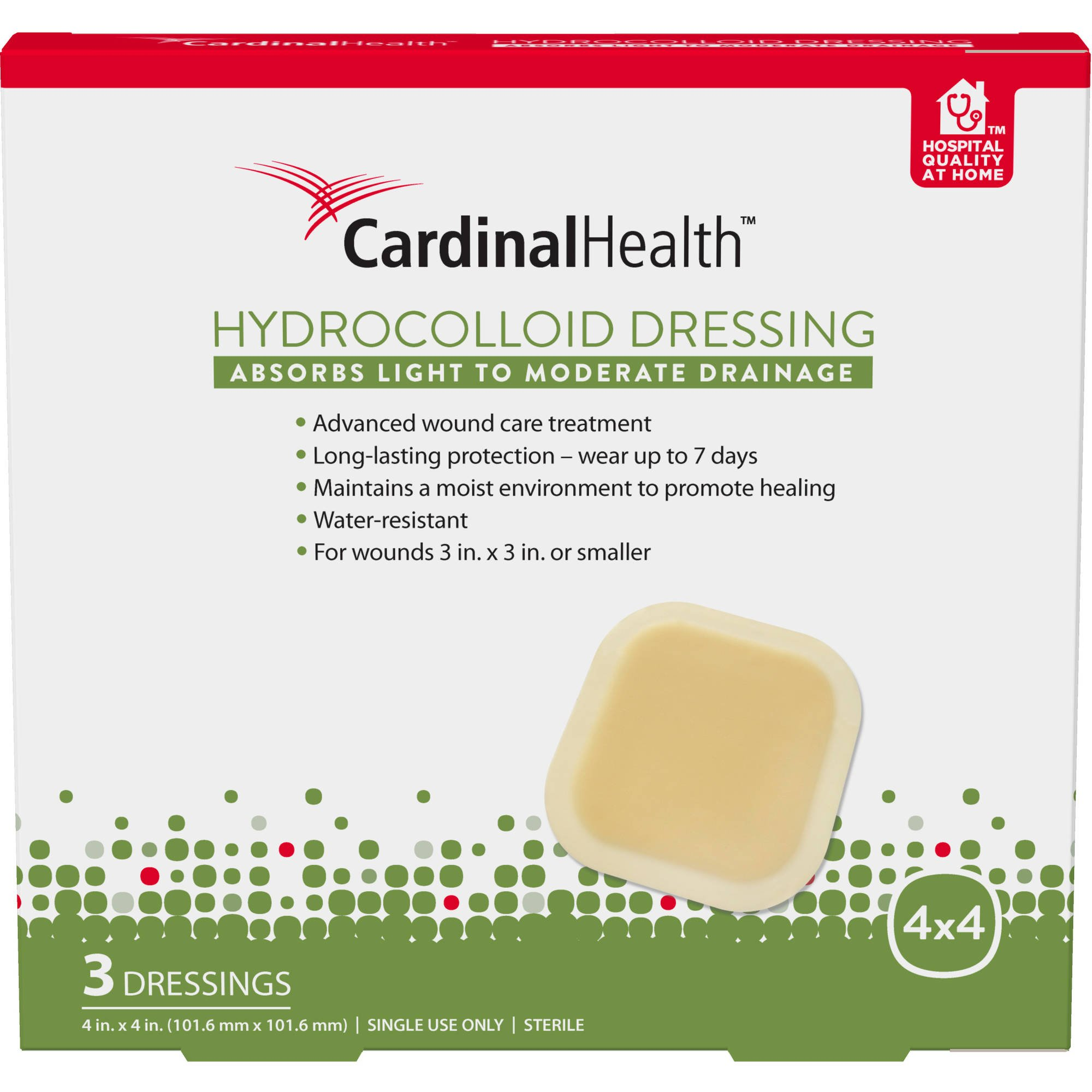Cardinal Health HC44RR 4-inch x 4-inch Hydrocolloid Wound Dressing (3), 3 Count