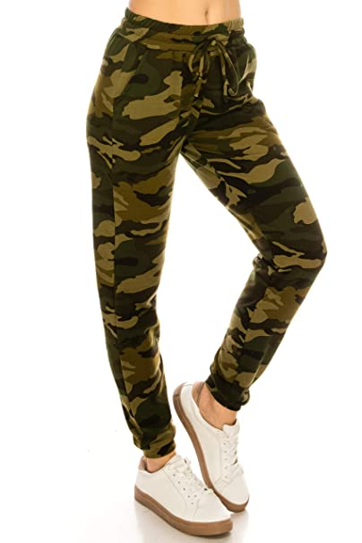 76341680f137f Amazon.com: ALWAYS Women Camo Joggers Pants - Super Soft Fleeced Warm  Winter Pockets Army Military Sweatpants: Clothing