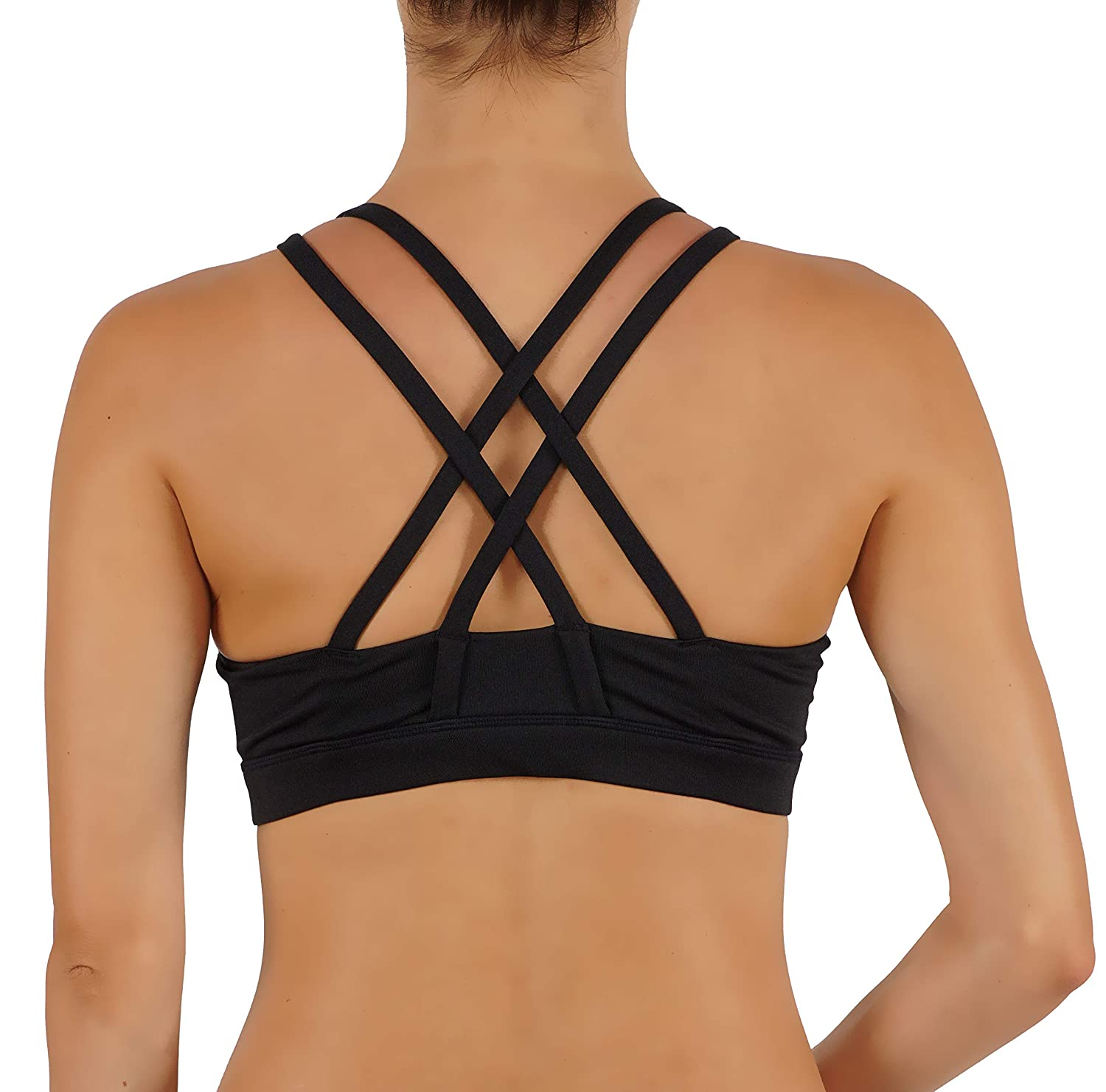 ROUGHRIVER Womens Yoga Bra Sports Top Features a Criss Cross Straps Back