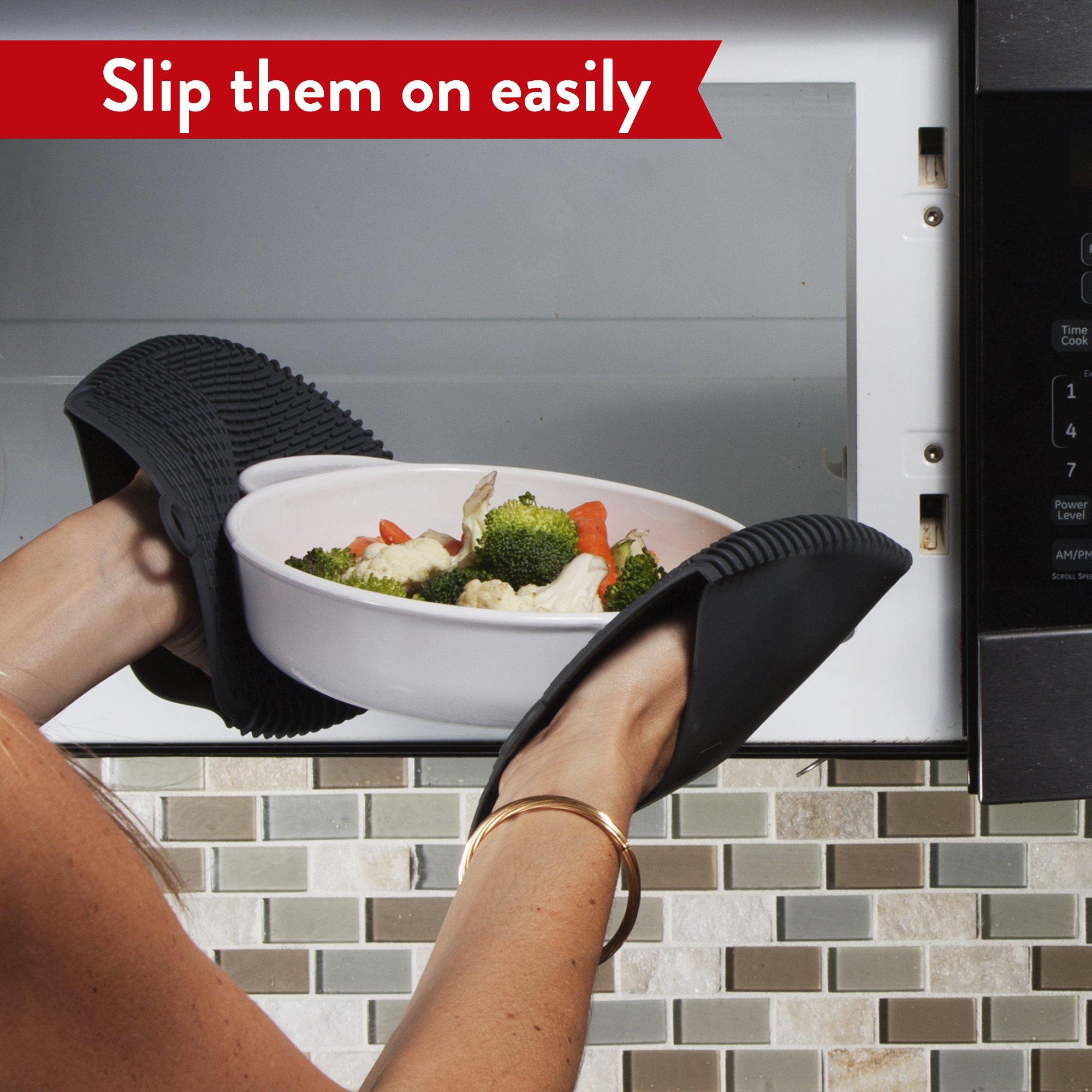 The Ultimate Pot Holders / Oven Mitts | 100% Silicone Mitt is Healthier Than Cotton & Easier to Clean, Won't Grow Mold or Bacteria | Unique Design Makes it Safe, Non-Slip & Flexible (Gray, Set of 2) by Love This Kitchen (Image #6)