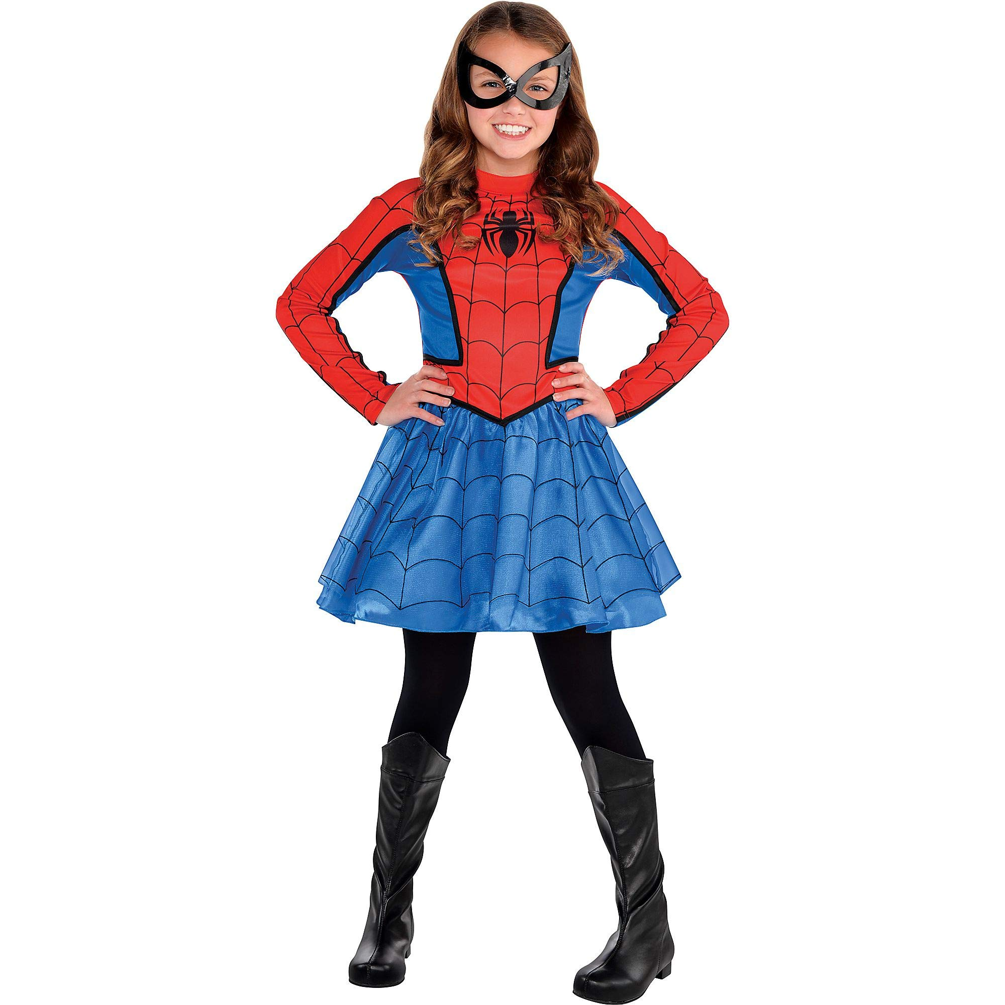 Costumes USA Red Spider-Girl Costume for Girls, Includes a Red and Blue Dress and a Matching Black Mask