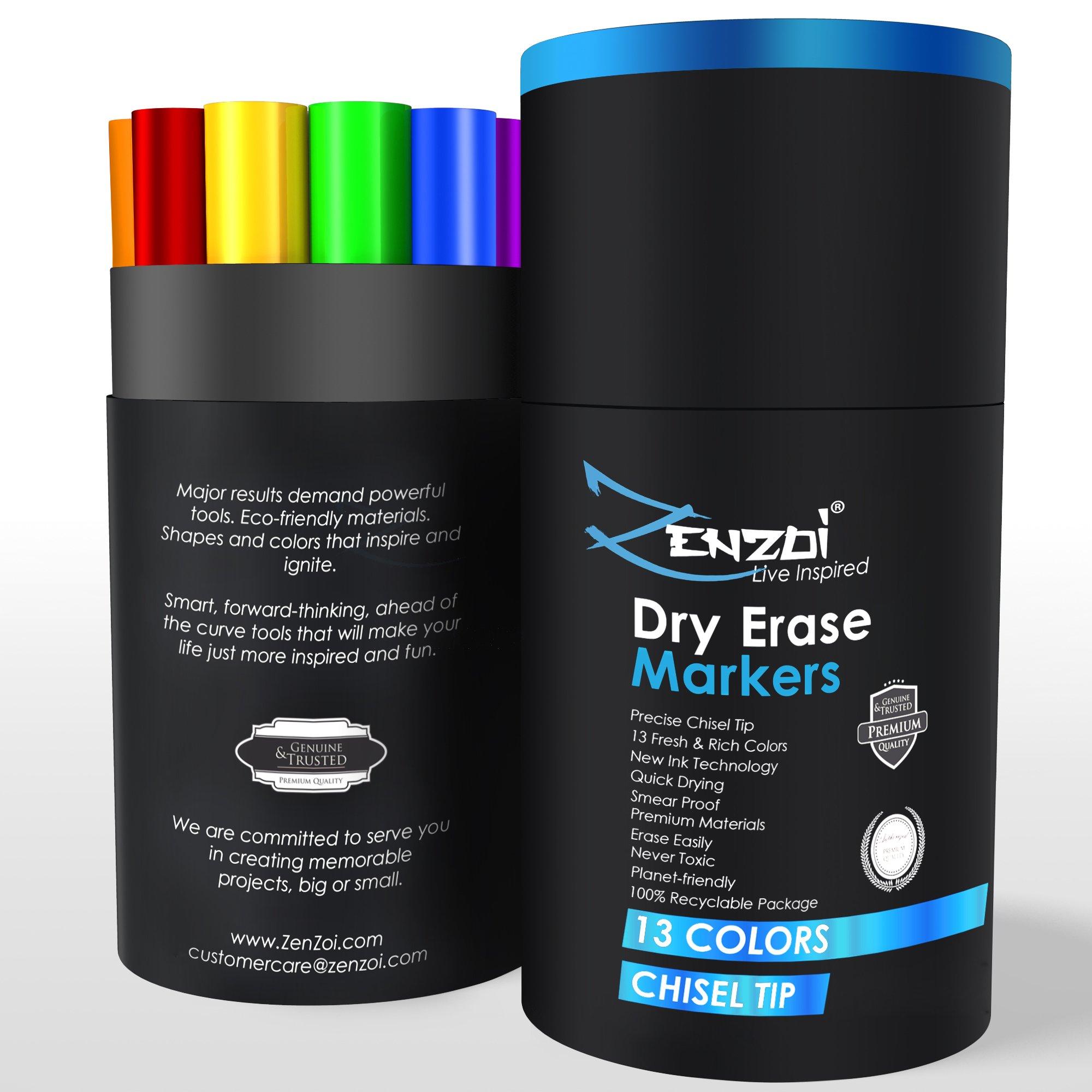 Dry Erase Markers Whiteboard Marker Set Erasable Pens - CHISEL Tip - 13 Vivid, Fresh Colors - You Get FREE Gift eBook - For Kids Office White Board Calendar Not Black Magnetic Bulk Erasers