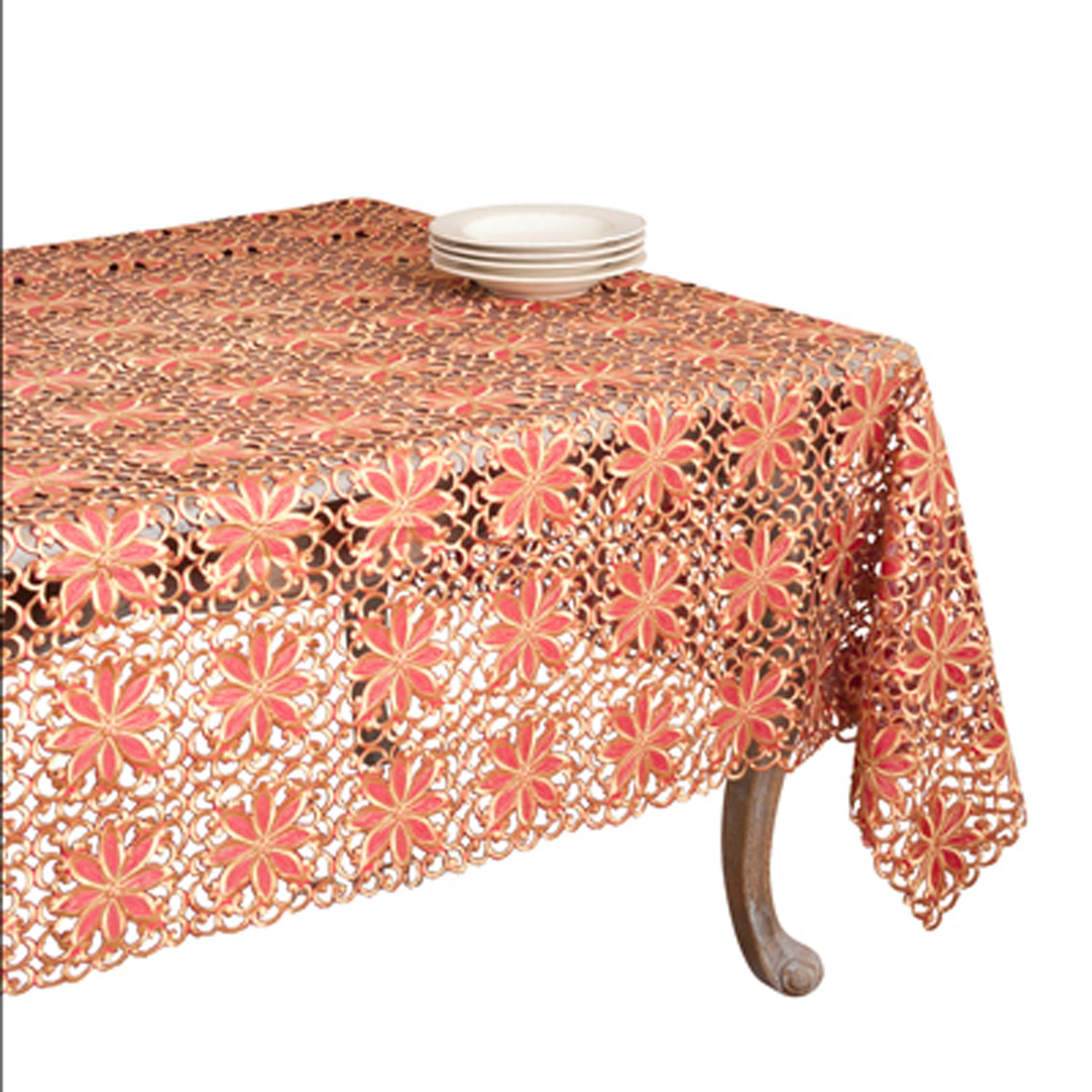 SARO LIFESTYLE QX556 Broderie Cutwork Oblong Tablecloth, 65-Inch by 104-Inch, Red