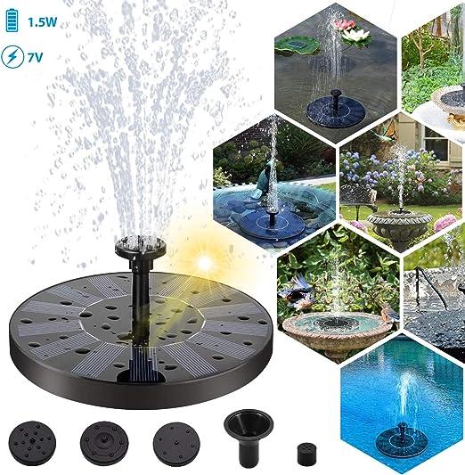 Owoda Solar Fuente Bomba,1.4W Bomba de Agua Solar, Flotador Fuente, Panel Solar, para Jardín, Piscina, Estanque, Acuario, Fuente, con 3 Boquillas: Amazon.es: Jardín