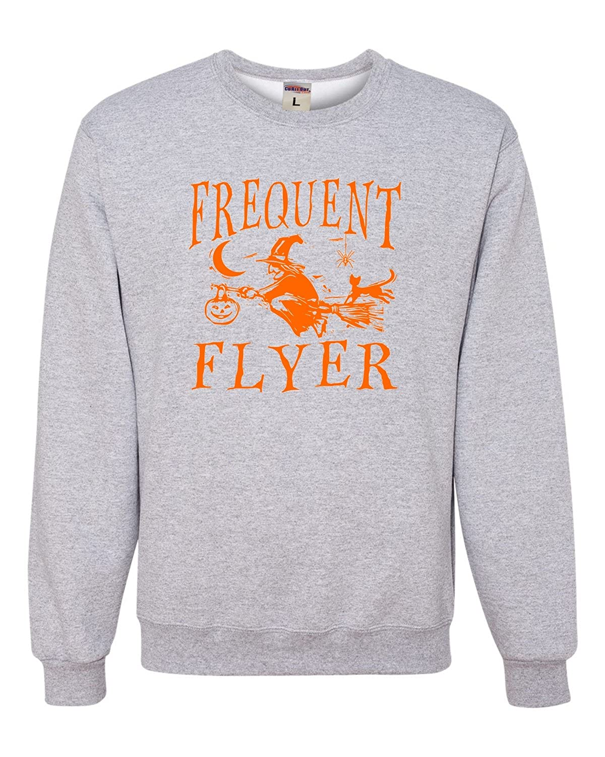 Go All Out Adult Frequent Flyer Funny Witch Halloween Sweatshirt Crewneck