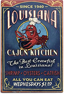 product image for Lantern Press Louisiana, Cajun Kitchen Crawfish Vintage Sign (12x18 Aluminum Wall Sign, Wall Decor Ready to Hang)