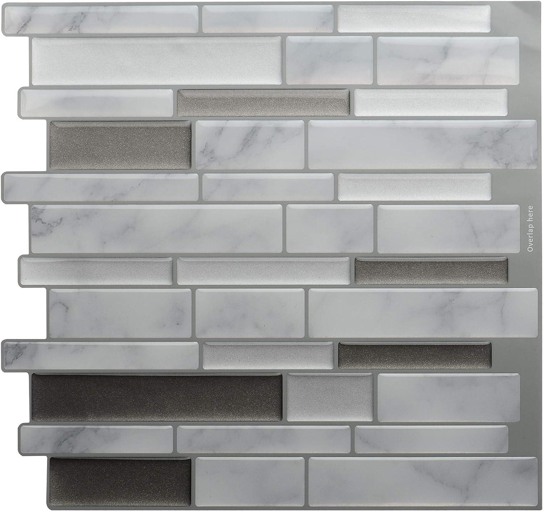 Silver /& Black Pencil Peel /& Stick 3D Self Adhesive Mosaic Wall Tile Sticker
