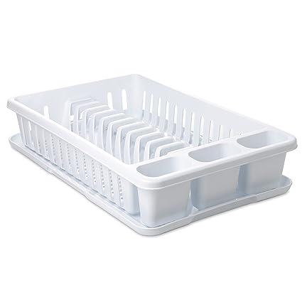 Tatay 127001 Escurreplatos Rectangular con Bandeja, Plástico Polipropileno Libre de BPA, Blanco, 27