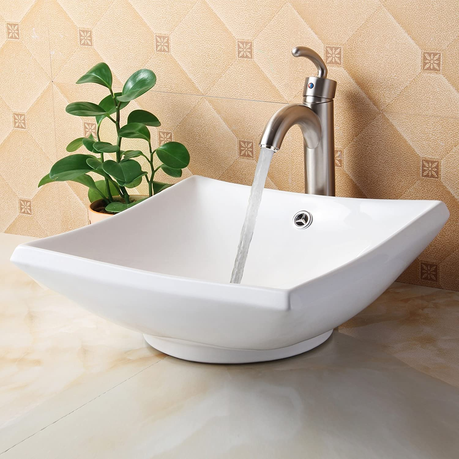 Low Cost Elite Bathroom Square White Ceramic Porcelain