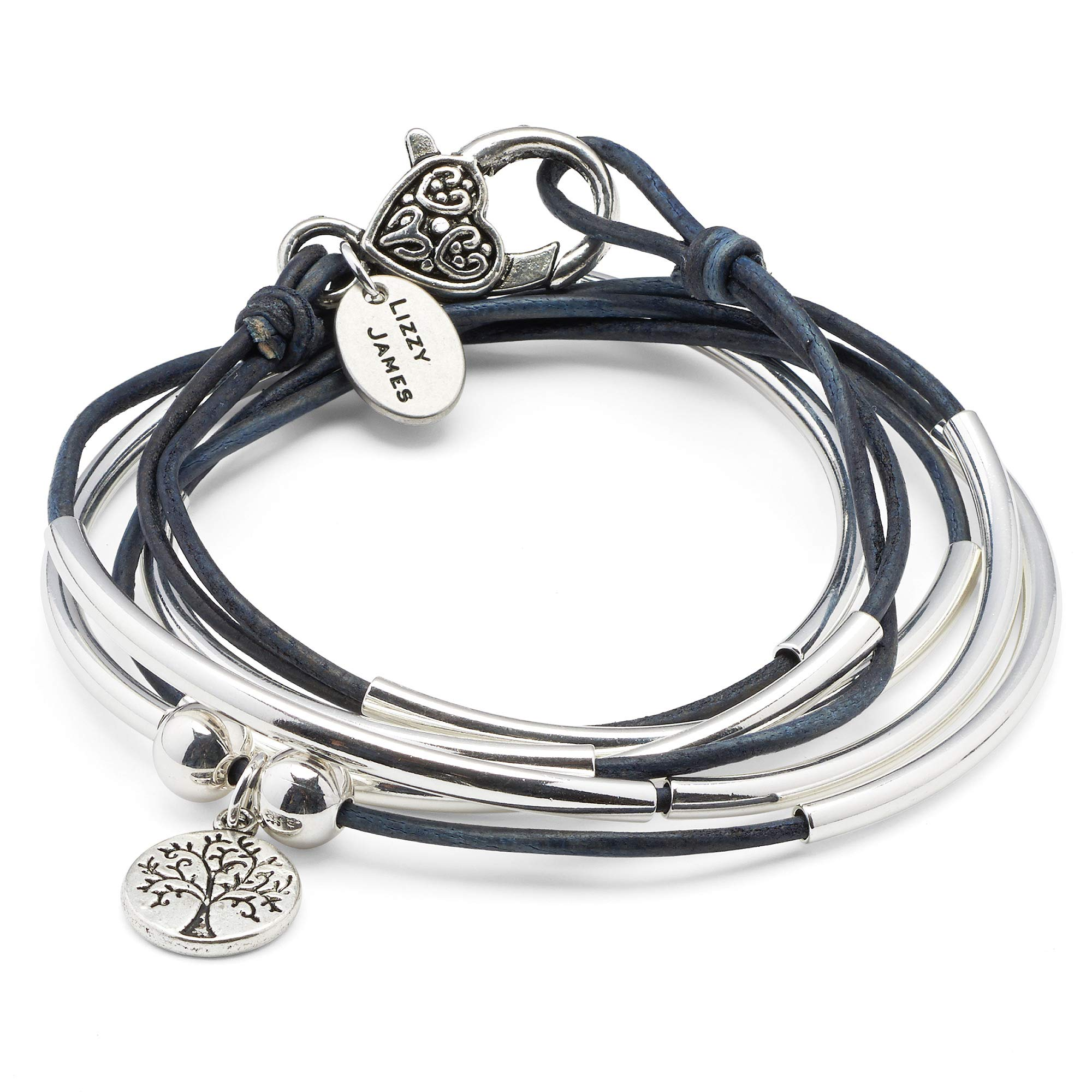 Lizzy James Girlfriend Silver Bracelet Necklace with Silver Tree of Life Charm in True Blue Leather (Medium)