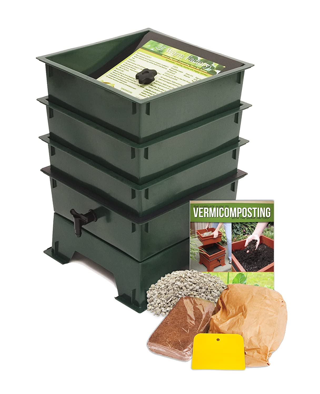 Amazon.com : Worm Factory DS3GT 3 Tray Worm Composter, Green : Outdoor  Composting Bins : Garden U0026 Outdoor