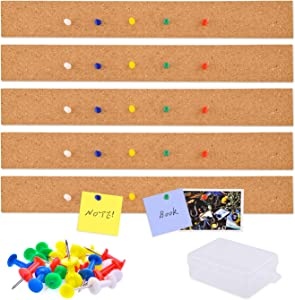 WXJ13 5 Pack Frameless Cork Bulletin Bars with 40 PCS Push Pins, 2 x 16 Inch, Multi Purpose Cork Board Strip for Office, School, Home Decor