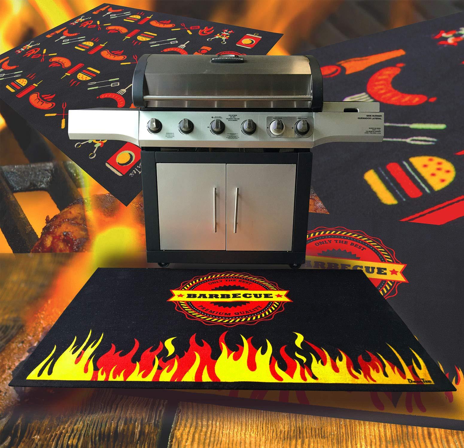 Doortex, BBQ Mat, Under Grill Mat, Fire Retardant and Flame Resistant Mat, Flame Design, 39'' x 60'' (FR4BQ3960FL)