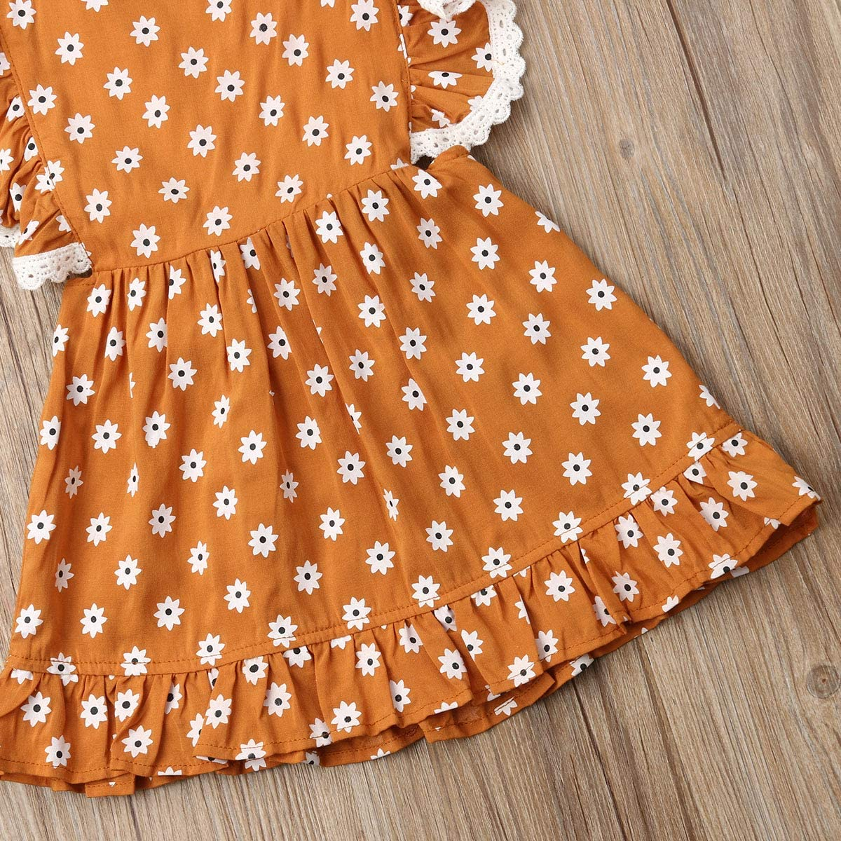 Newborn Kids Infant Baby Girls Summer Ruffle Backless Lace Floral Lovely A-Line Strap Dress Sundress Clothes Outfits