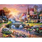 SODIAL Full Round Drill DIY 5D Diamond Painting by Number Kits,The Rising Sun and Castle (30X40 cm)