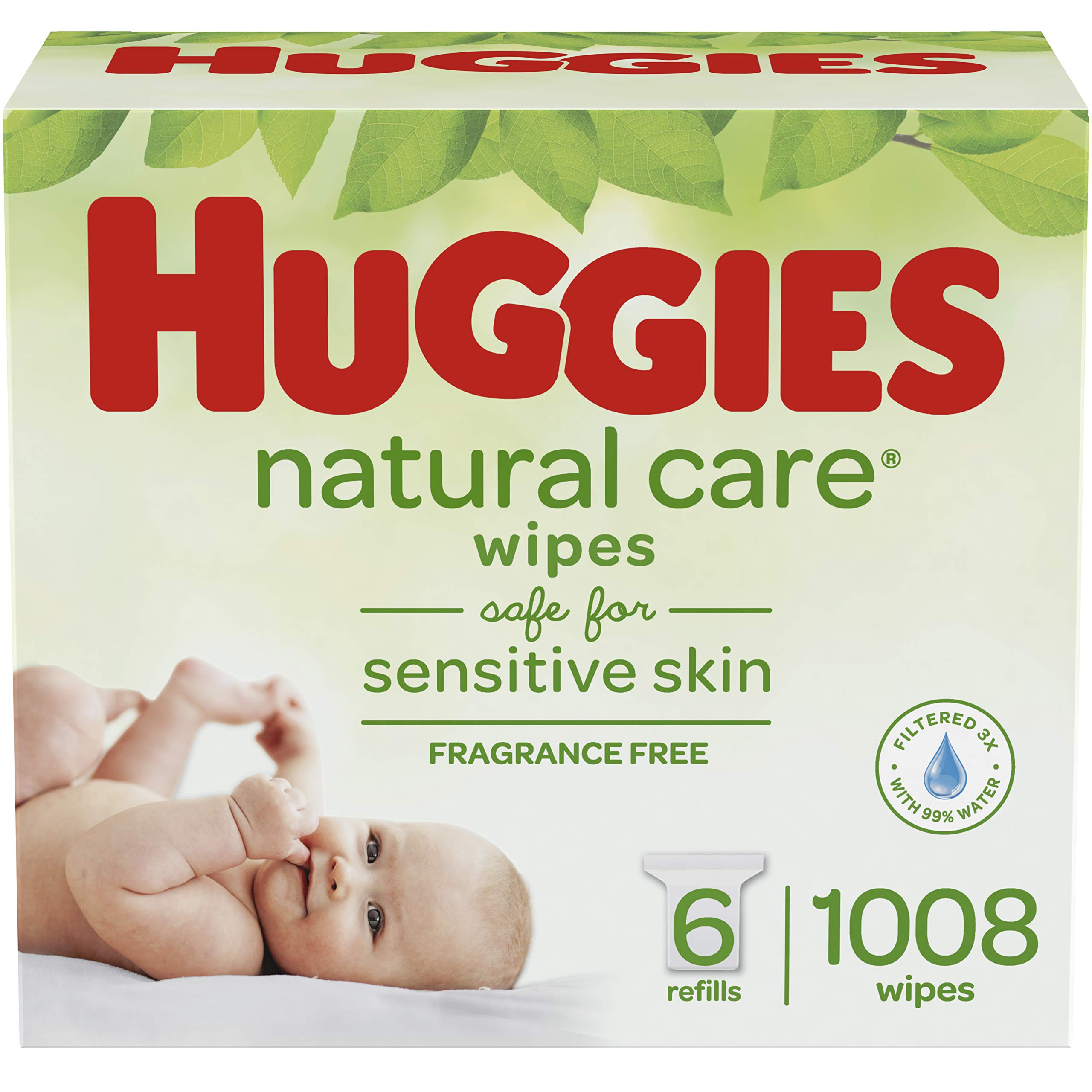 Huggies Natural Care Unscented Baby Wipes, Sensitive, 6 Refill Packs (1008 Wipes) product image