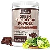Green Superfood Chocolate, Natrogix Greens Powder Drink, Plant-Based Protein with Rich Vitamins, Minerals, Antioxidant Fruits, Wheatgrass, Barley Grass, Spinach, Alfalfa, Spirulina, Probiotics -8.5 Oz