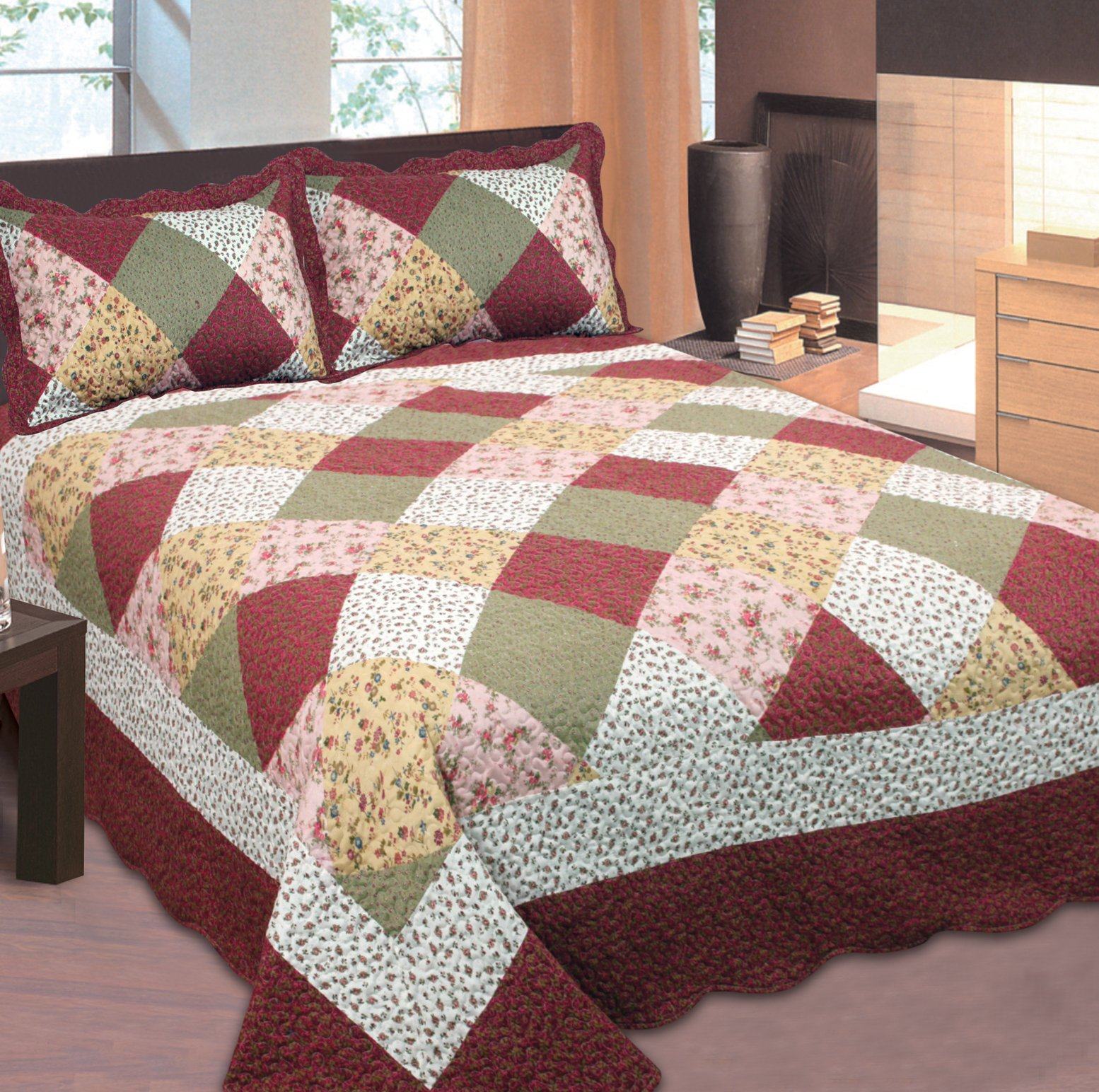 Mk Collection California King 3pc Bedspread Floral Patchwork Off White Burgundy Pink Beige Coverlet Set New 0015001