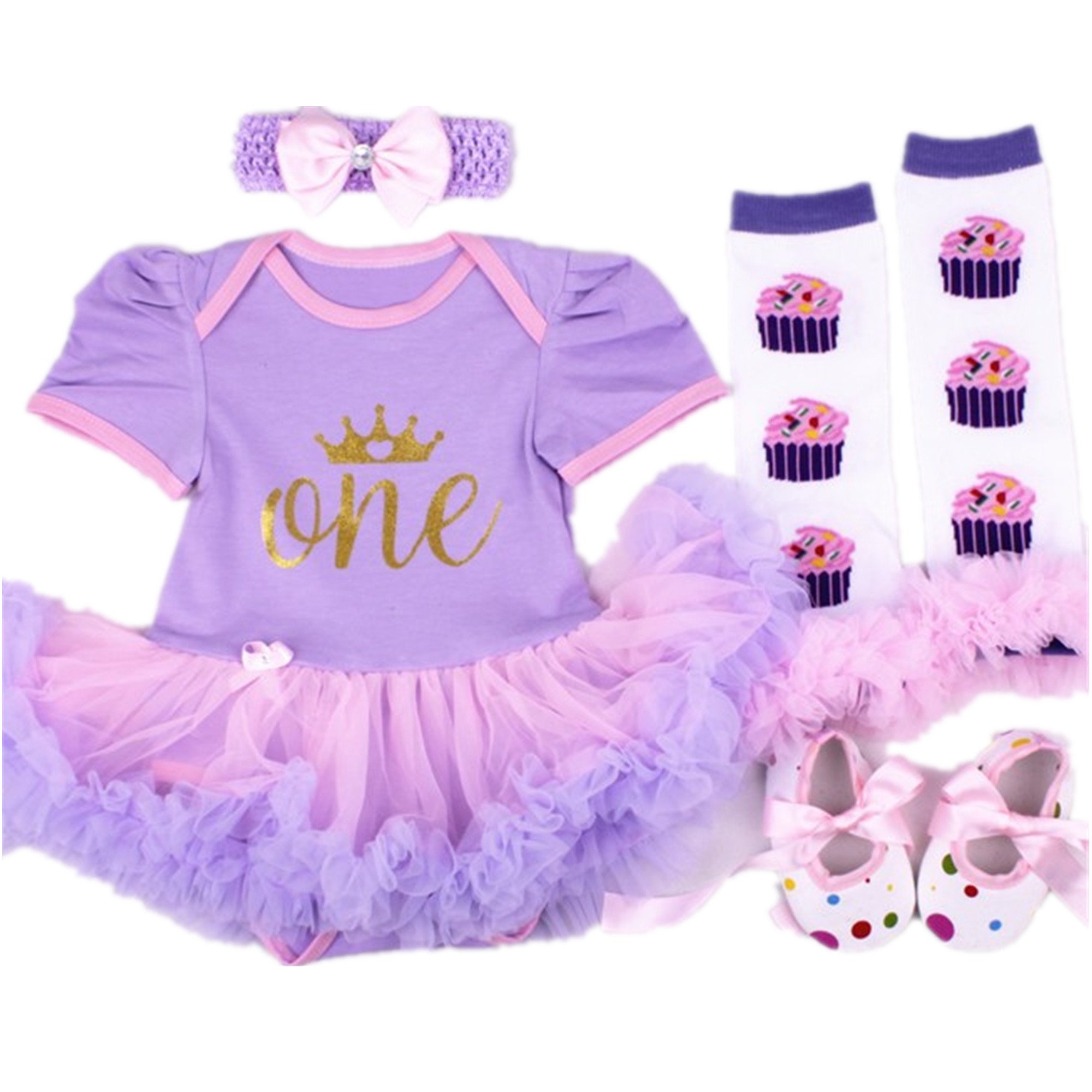 Starkma Baby Girls 4PCs e Year First Birthday Tutu Dress Headband