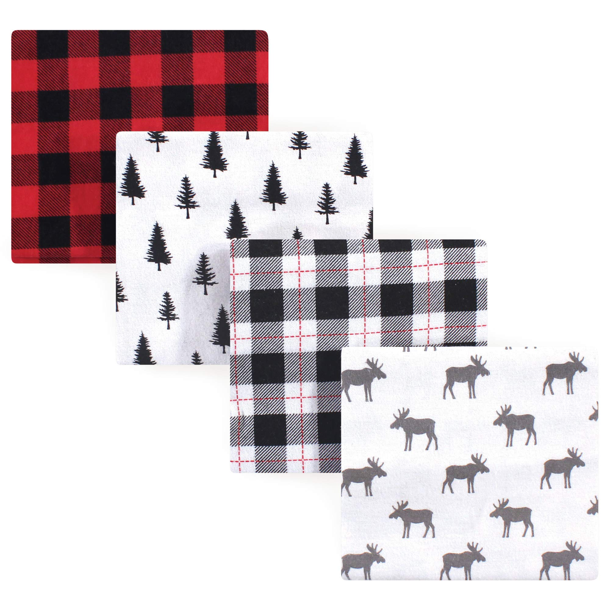 Hudson Baby Unisex Baby Cotton Flannel Receiving Blankets, 4-Pack, Moose, One Size by Hudson Baby