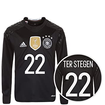 ad398b720 Adidas DFB Child s Goalkeeper Long-Sleeved Jersey Home Euro 2016 Ter Stegen  black white