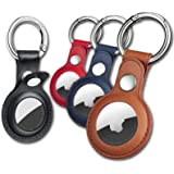 Eusty Air Tag Keychain for Apple Airtags Holder , 4 Pack Protective Leather Airtags Case Tracker Cover with Air Tag Holder, A
